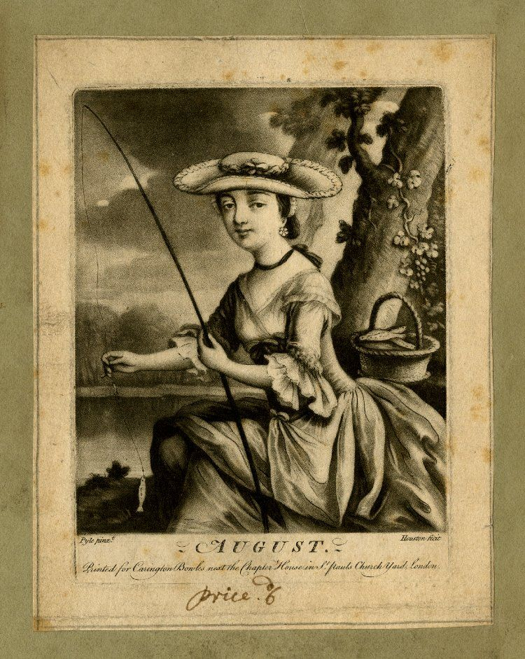 """""""August"""". A fashionably dressed young woman in a gown with frilled elbow-length sleeves and a straw hat, shown three-quarters length to left, in front of rocks beside a waterfall, holding a fishing rod and lifting the line to show a little fish, with a basket of fish on the ledge beside her; a vine growing up the rock and a man sitting on the opposite bank, fishing."""
