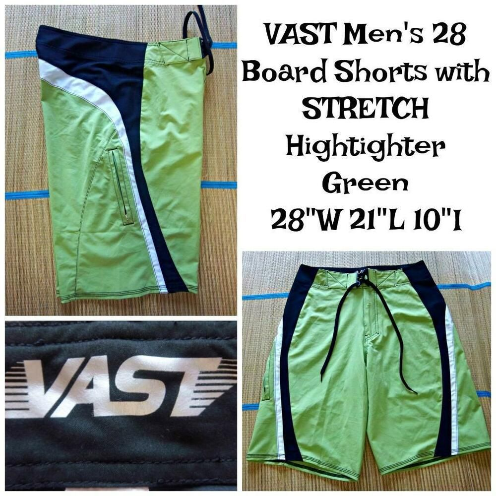 a48836551a VAST Men's Size 28 STRETCH BOARD SHORTS SWIM TRUNKS Highlighter Green #Vast  #BoardShorts