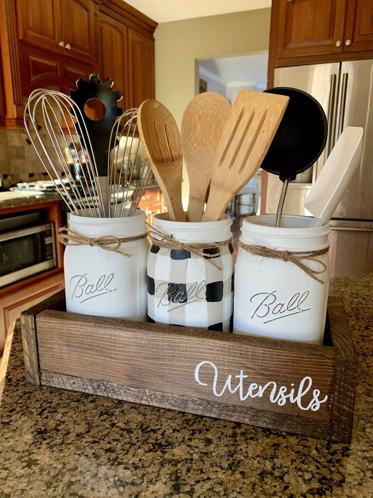 black and a white gingham buffalo plaid utensil set in 2019 kitchen decor farmhouse style on farmhouse kitchen utensils id=69408