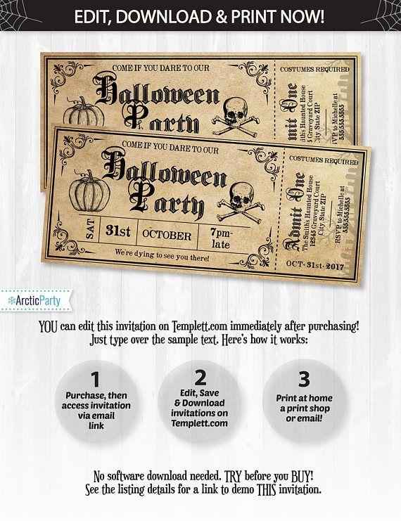 Halloween Invitations, Halloween Ticket Invitations, Halloween - ticket invitation template