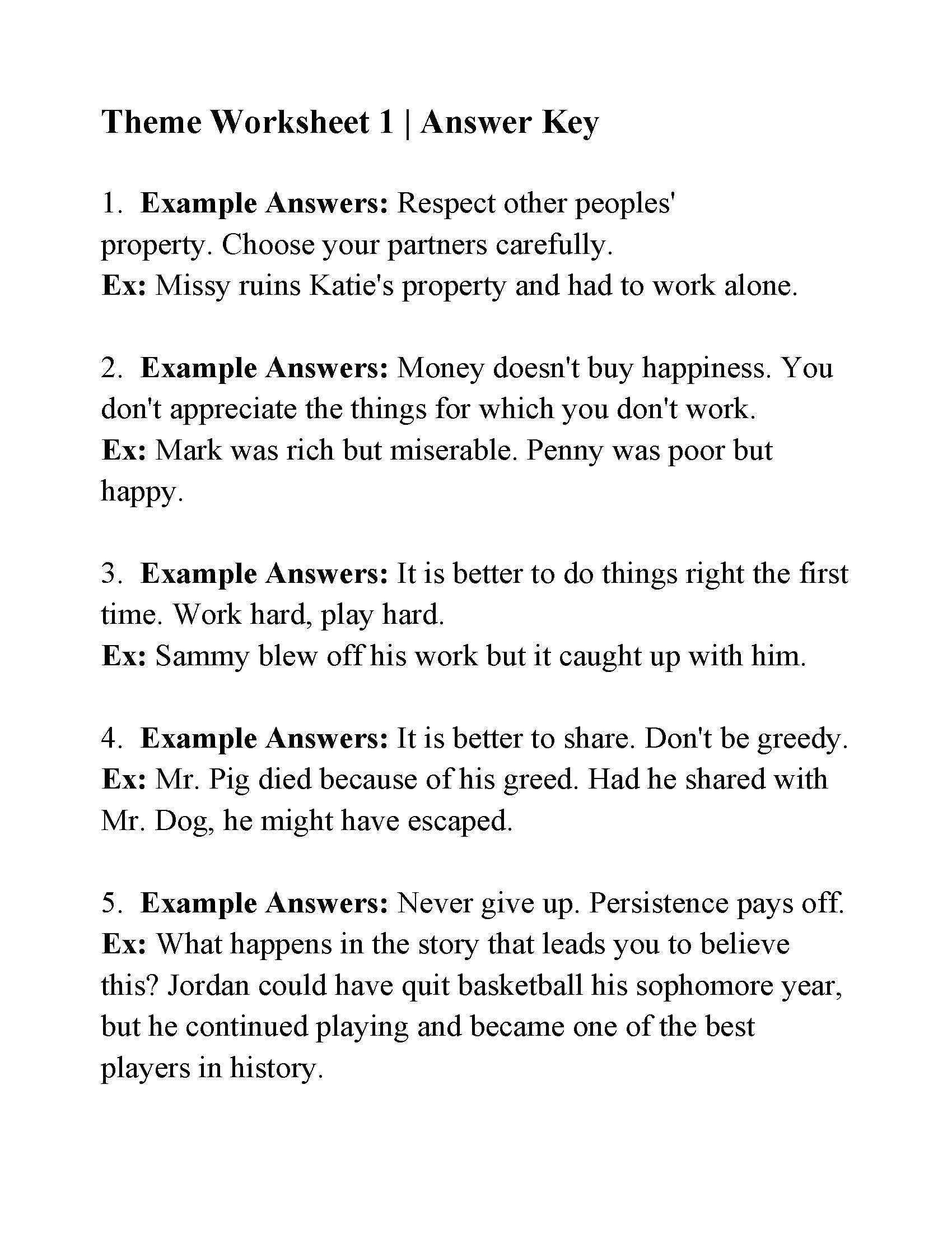 This Is The Answer Key For The Theme Worksheet 1 School Worksheets Literal Equations Kindergarten Worksheets
