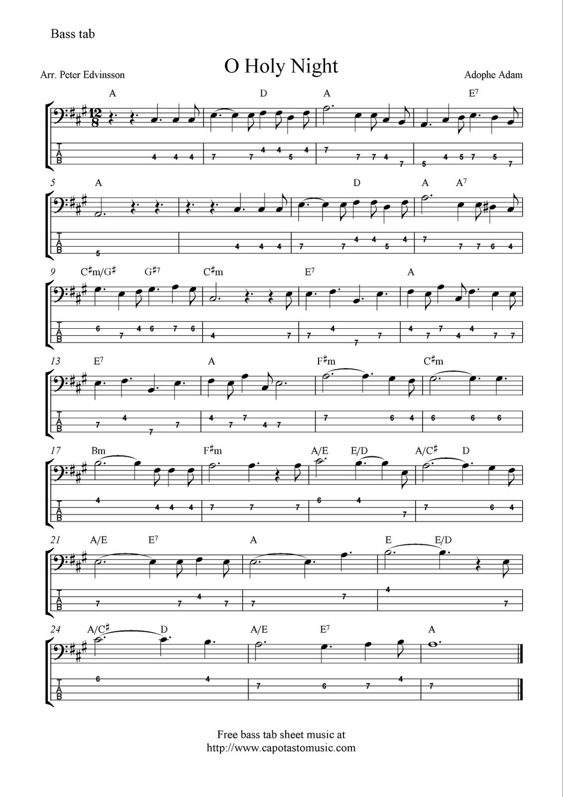 Oholynightfreechristmasbasstabsheetmusicnotesg 1131 bass hexwebz Choice Image