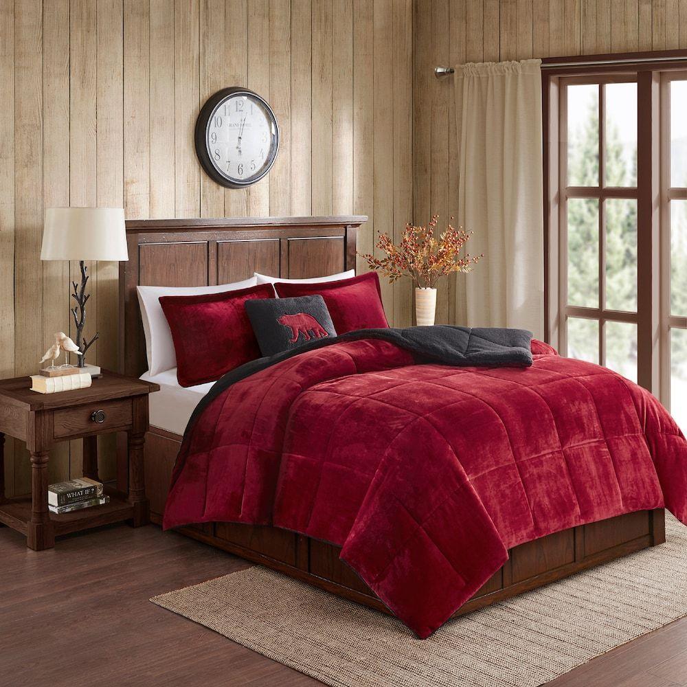 Woolrich Alton Plush To Sherpa Fleece Comforter Set Red