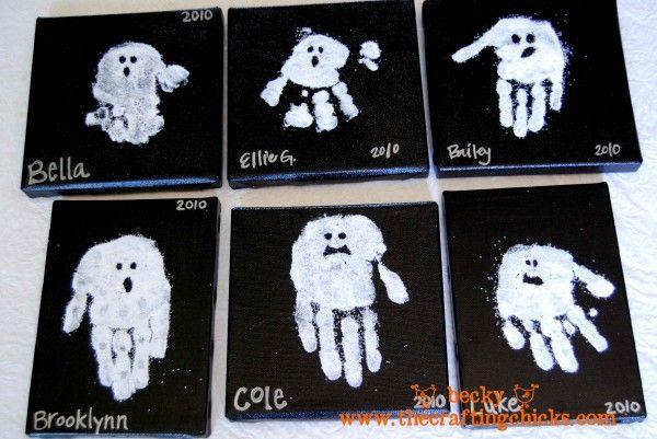 Kids hand ghosts - cute idea!