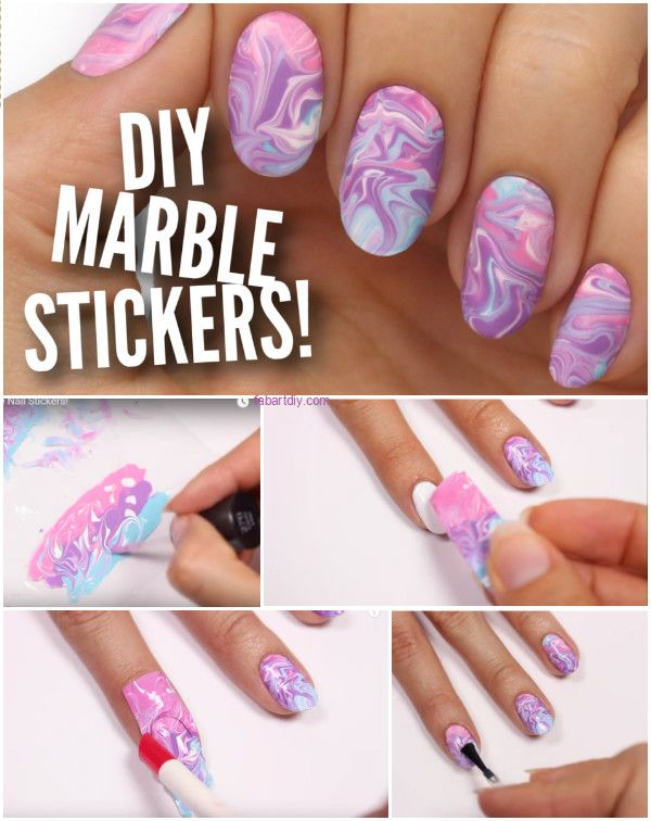 Diy Plastic Bag Nail Art Stickers Water Marble Nail Hack Nail Hacks Diy Diy Nail Designs Nails
