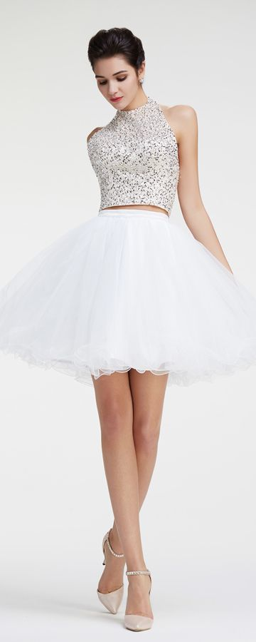 Halter Crystal Sparkly Two Piece White Short Prom Dresses Short