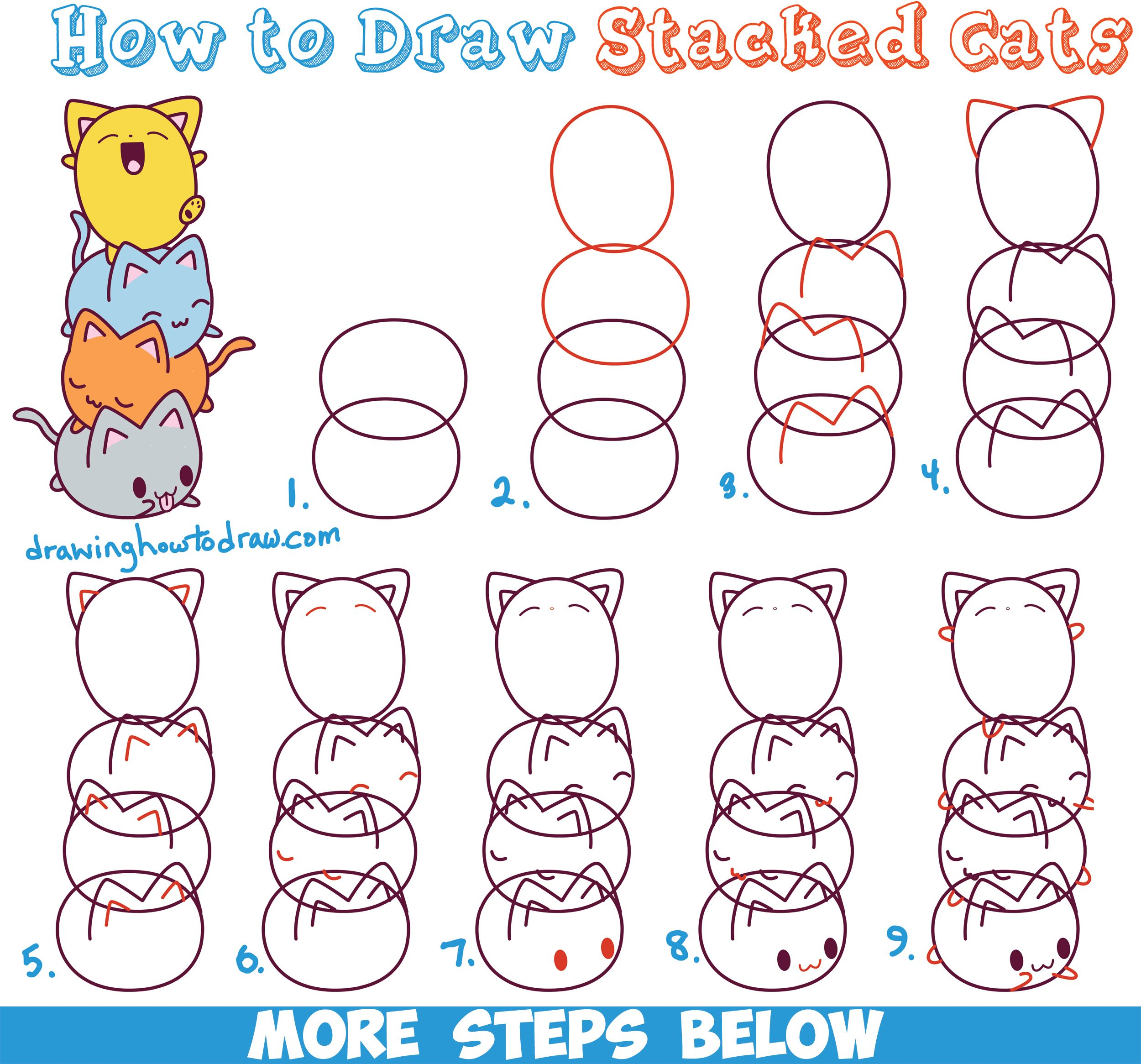 How To Draw Cute Kawaii Cats Stacked On Top Of Each Other  Easy Step By