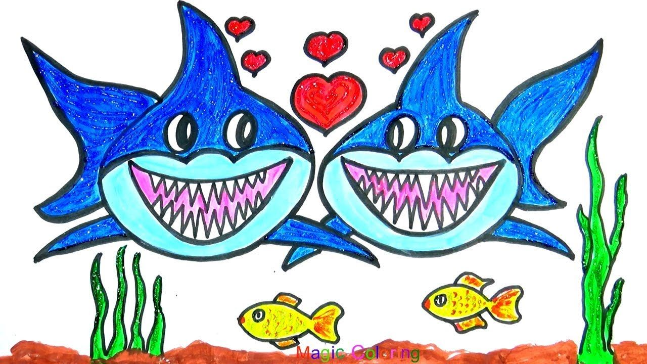 Glitter Happy Baby Sharks Valentine's Day Simple Drawings ...