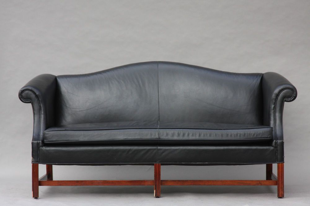 Vintage Chippendale Style Leather Camelback Sofa Hollywood