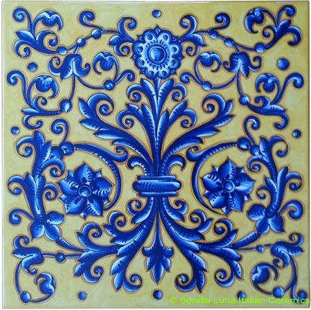 Hand Painted Decorative Tiles Pleasing Tile Acanthus Flower Crest Blue Yellow  Tiles  Pinterest  Blue Inspiration