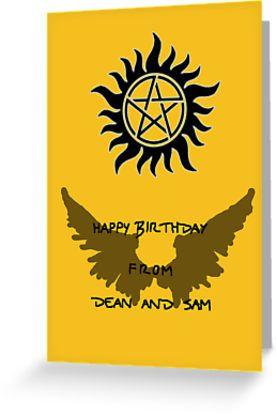 Supernatural Birthday By Artsandherbs Supernatural Birthday Supernatural Party Birthday Cards