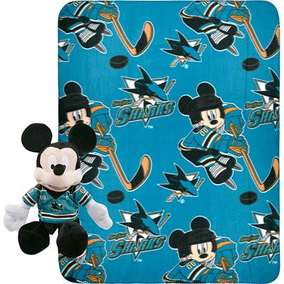 Multi Color Officially Licensed NHL Ice Warriors Co-Branded Disneys Mickey Mouse Hugger and Fleece Throw Blanket Set 40 x 50