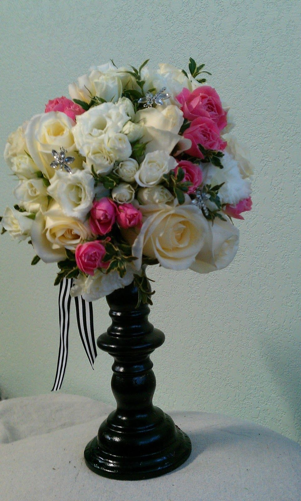 Black white and hot pink wedding flower arrangements bridesmaids black white and hot pink wedding flower arrangements bridesmaids bouquets were a mix of white izmirmasajfo