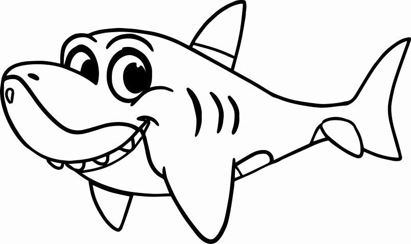 Baby Shark Coloring Page Inspirational Cute Cartoon Shark Coloring Page In 2020 Shark Coloring Pages Cartoon Coloring Pages Cute Coloring Pages