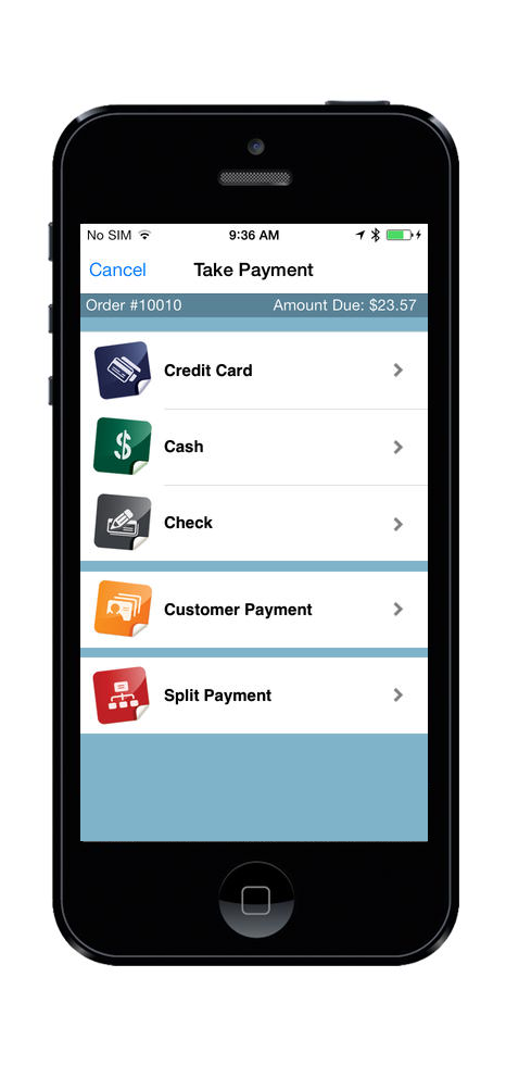 Take payments in the form credit, cash and check on your