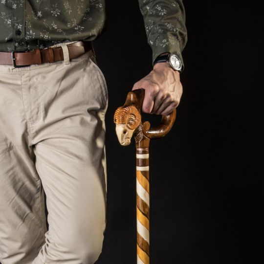 Ram Walking Stick, Hand Carved - Handmade | Hand carved ...