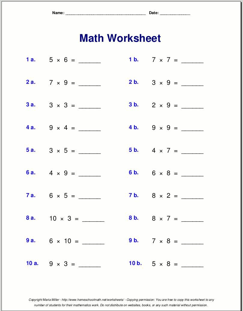 Multiplication Worksheets Grade 4 Free Math Worksheets