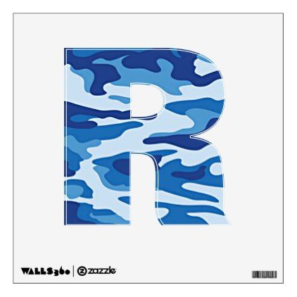 Camouflage Pattern - Blue - Letter R Wall Sticker - walldecals home decor cyo custom wall  sc 1 st  Pinterest & Camouflage Pattern - Blue - Letter R Wall Sticker - walldecals home ...