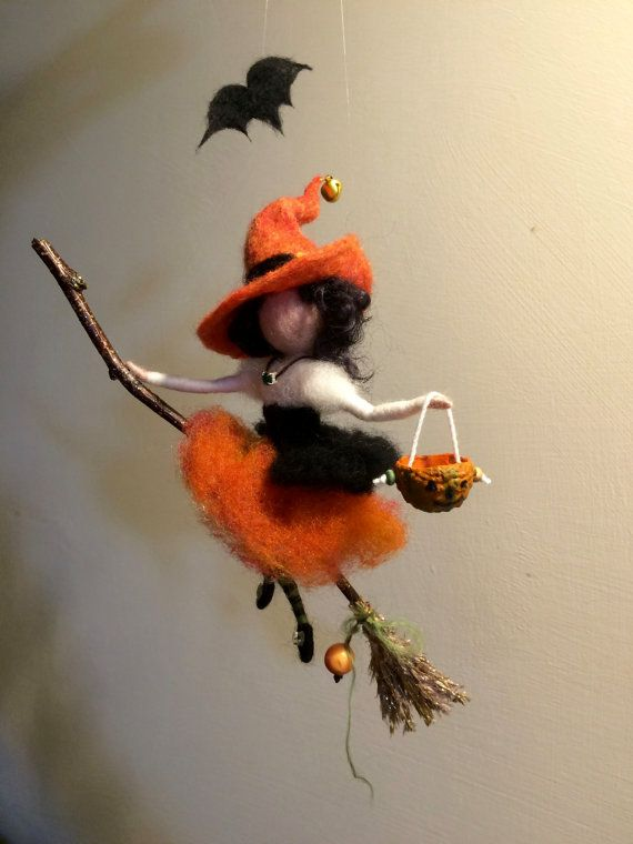 Needle felted Fairy, Waldorf inspired, Witch with a magic broom, Halloween, Wool Witch,Orange, Art doll, Autumn ornament