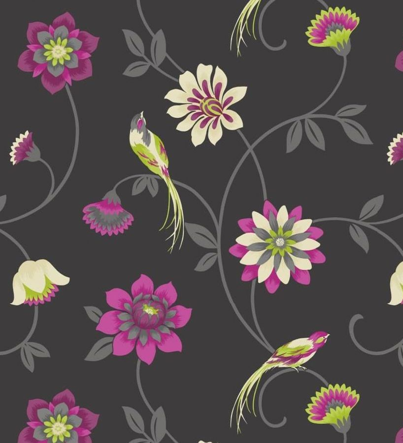 Papel pintado flores romanticas fucsia y vainilla pajaros for Papel pintado fucsia