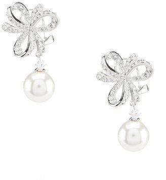 Nadri Marion Bow Pearl Drop Earrings bride wedding jewelry