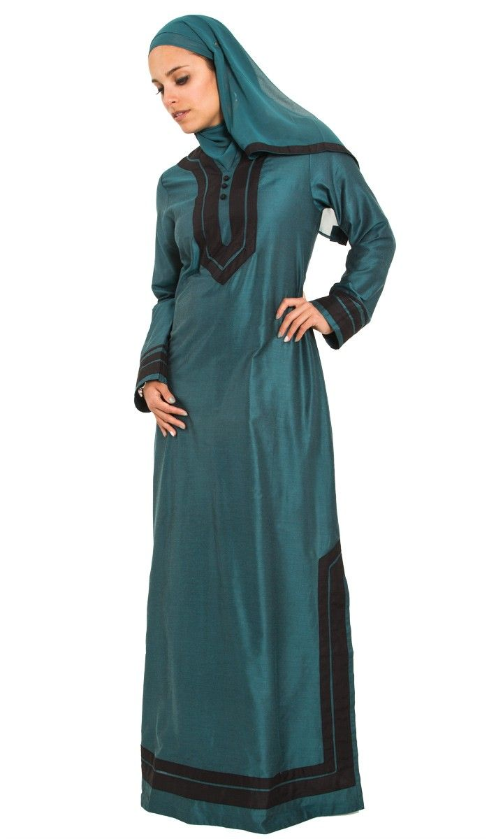 Moroccan Inspired Teal Islamic Formal Caftan Dress with Hijab ...