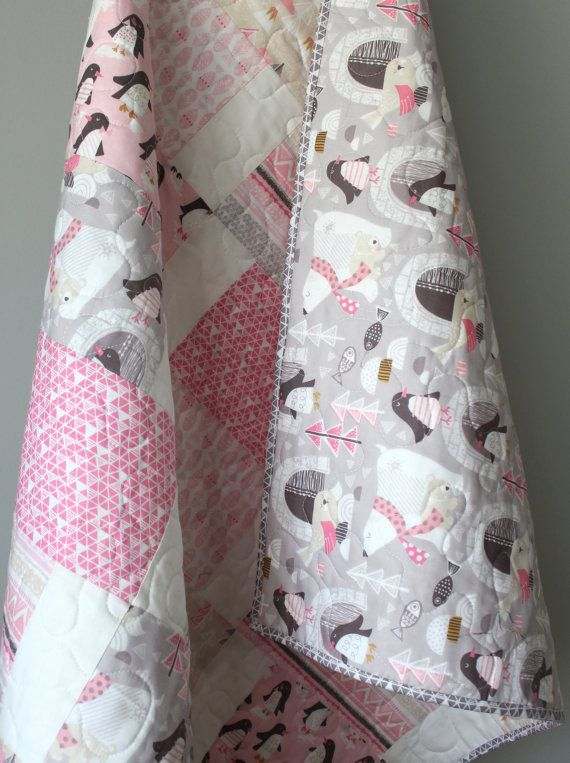 Baby Quilts For Girls Polar Bear Penguin Arctic Igloo