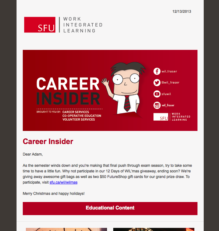 Career Insider E Newsletter Responsive Mobile Friendly Template Career Bulletin Boards Integrated Learning Volunteer Services