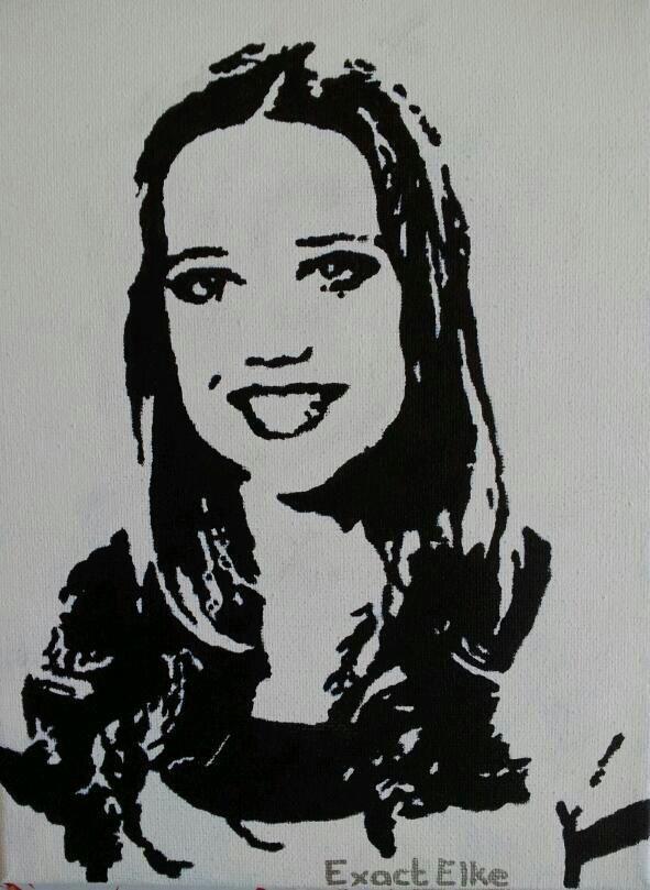 Jinke (13 jr.) geschilderd in zwart-wit op een doek van 18 X 24 cm.