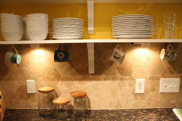 DIY Under Cabinet Coffee Mug Hooks And Lights  ThisHouseIsOurHome.blogspot.com