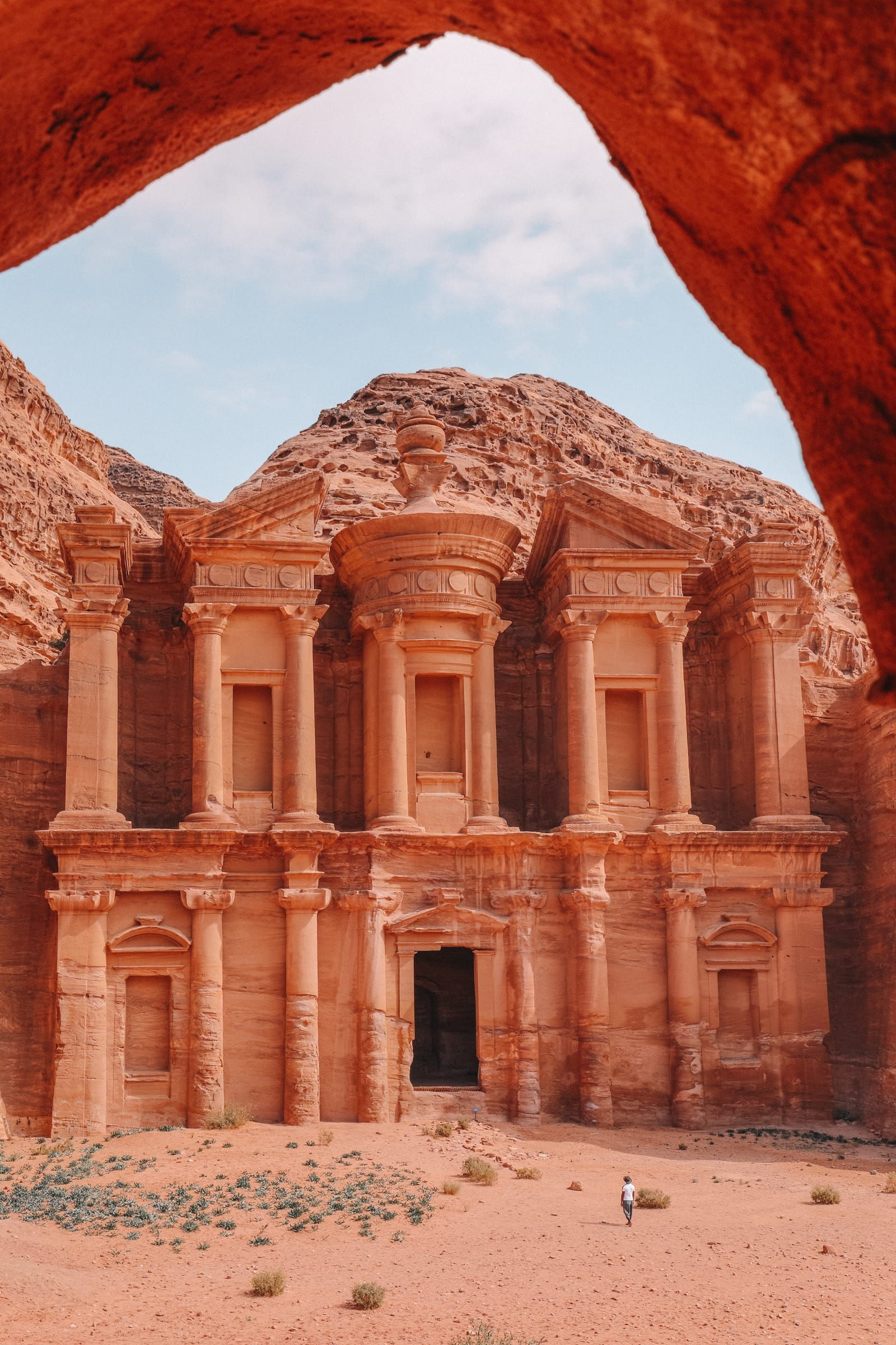 Visiting The Monastery In The Mountains At Petra,