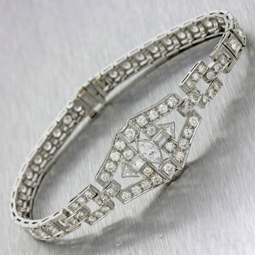 1920s Antique Art Deco Estate Solid Platinum 3 45ctw Diamond Tennis Bracelet | eBay