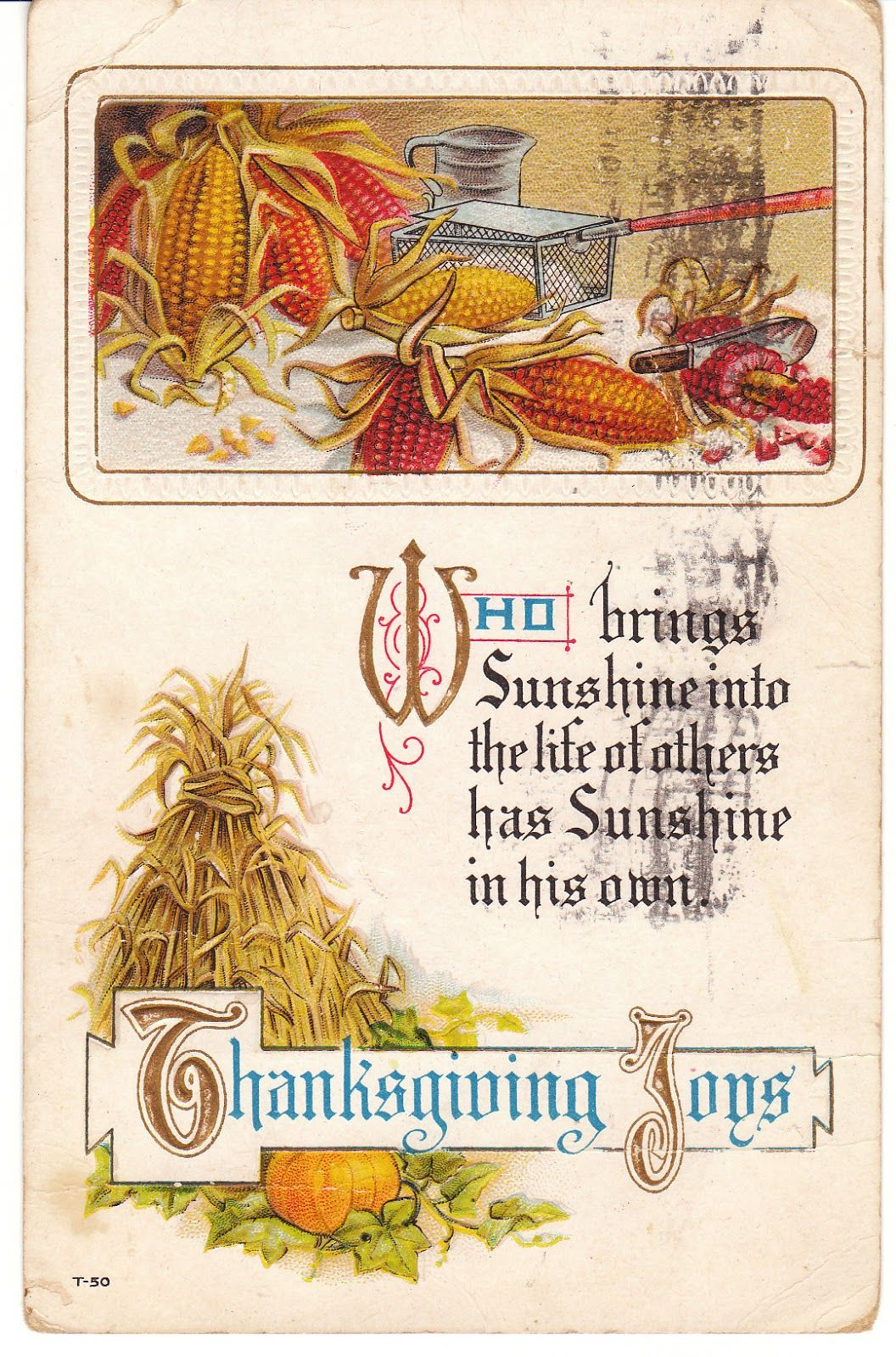 This 1915 Vintage Thanksgiving Postcard Features Harvest Corn Pumpkins And Straw View From
