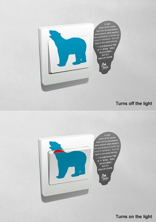 倡導環保的創意開關貼紙 在開燈時不經意提醒你,不用的時候關掉更愛地球