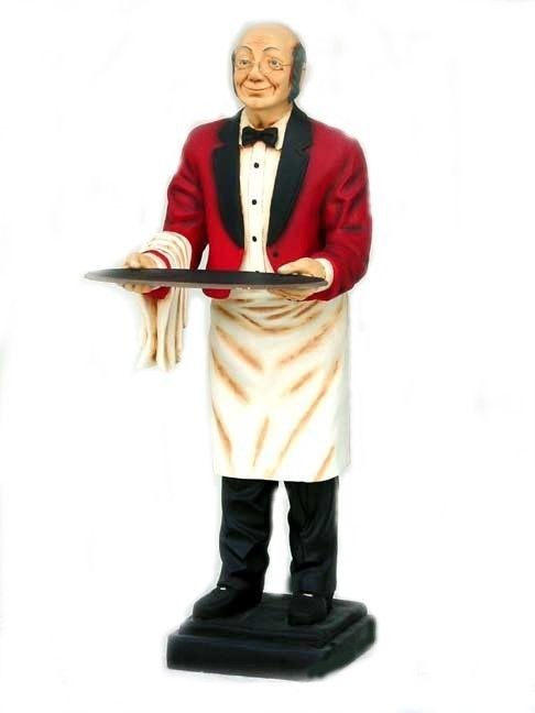 Old Man Waiter Butler Statue Holding Serving Tray P