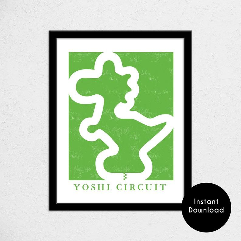 Yoshi Circuit Track Map Print Super Mario Double Dash Track Map