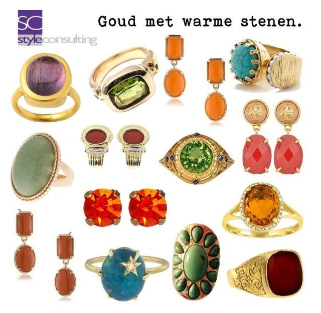 """Gouden sieraden met warme stenen."" Margriet Roorda- Faber. Style Consulting."