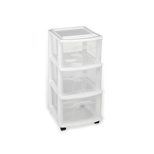 Homz Plastic 3 Drawer Medium Cart White Frame Clear Drawers 4 Casters Included 2pack Details Can Be Found Storage Cart Rolling Storage Cart Rolling Storage