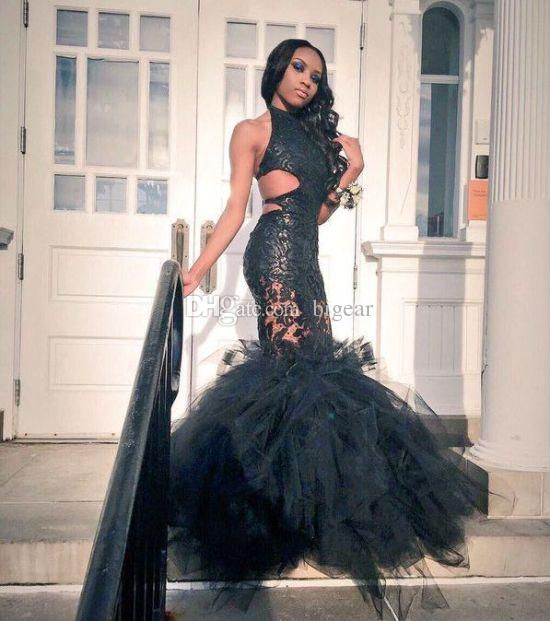 Jopen Back Black Halter Mermaid Prom Dress With Puffy Skirt