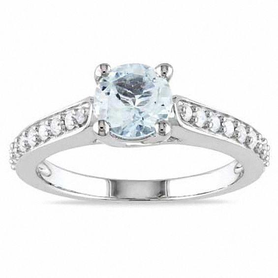 6 0mm Aquamarine And 1 4 Ct T W Diamond Engagement Ring