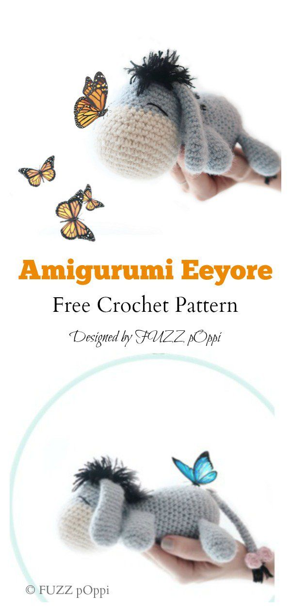 Amigurumi Eeyore Keychain Free Crochet Pattern