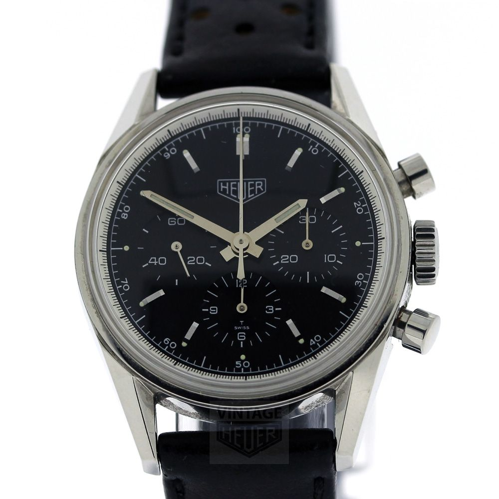 Tag heuer carrera re edition chronograph cs3110 black dial vintage heuer vintage heuer for Tag heuer chronograph