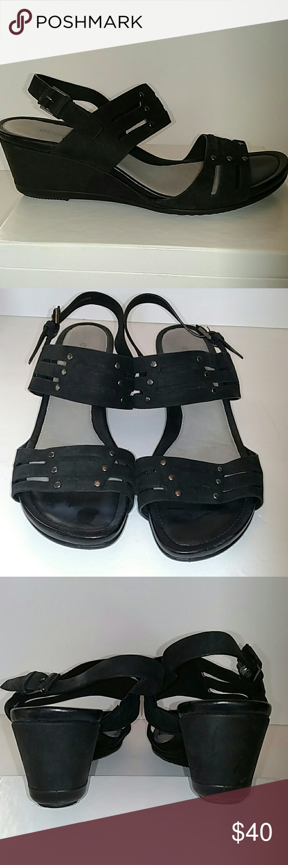 Ecco Touch 45 Wedge Sandal Black with gunmetal studs and buckles. Suede leather upper. 2 inch heel. No signs of wear. Size 39 Ecco Shoes Wedges