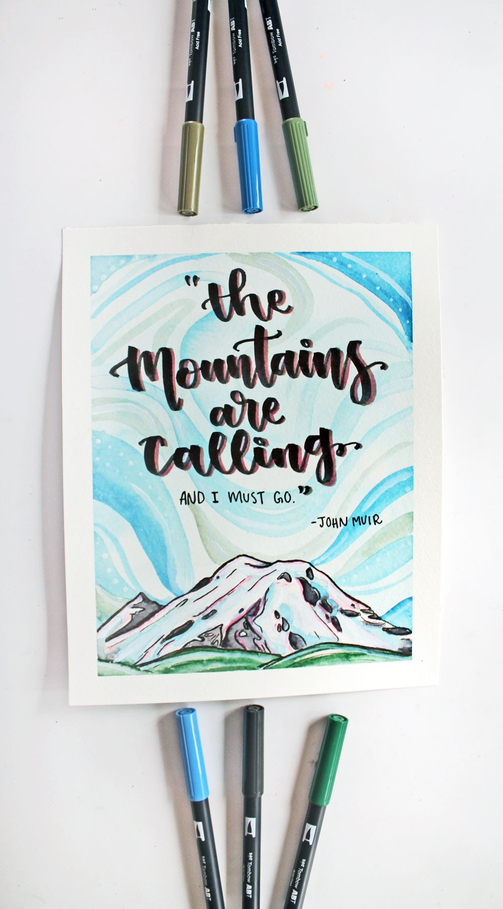 Easy Mountain Inspired Art You Can Diy Tombow Tombow Dual Brush