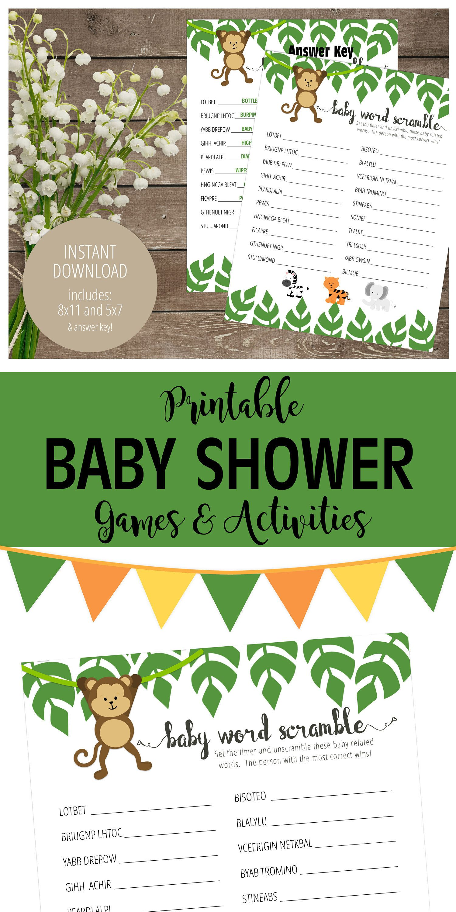 Jungle Animals Theme Baby Shower Game Printable Baby