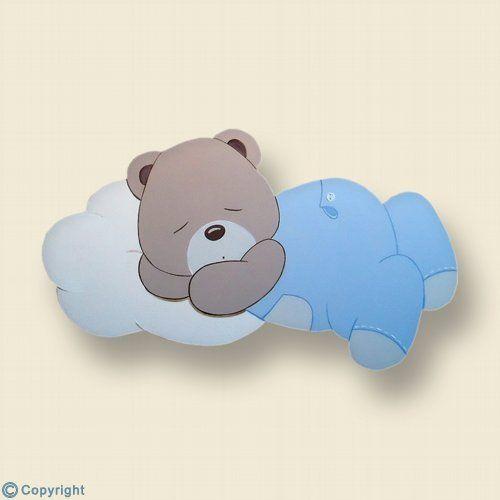 Silueta de madera personalizada Osito durmiendo en una nube ref