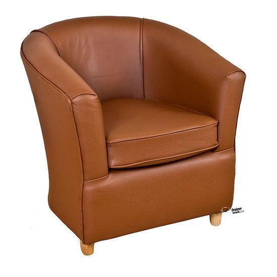 Leather Bucket Tub Chair Tan Brown Sofa Design Chair Futon Chair Bed