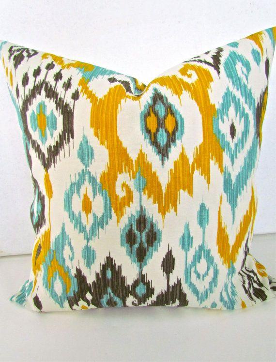 THROW PILLOWS 20x20 ikat Throw Pillow Covers 20 x 20 Aqua Turquoise Gray Decorative Throw ...