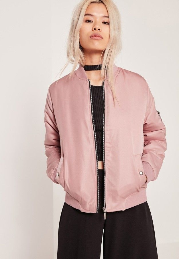 This satin bomber that'll turn up every outfit. | 27 Products For People Who Have A Dusty Rose Obsession