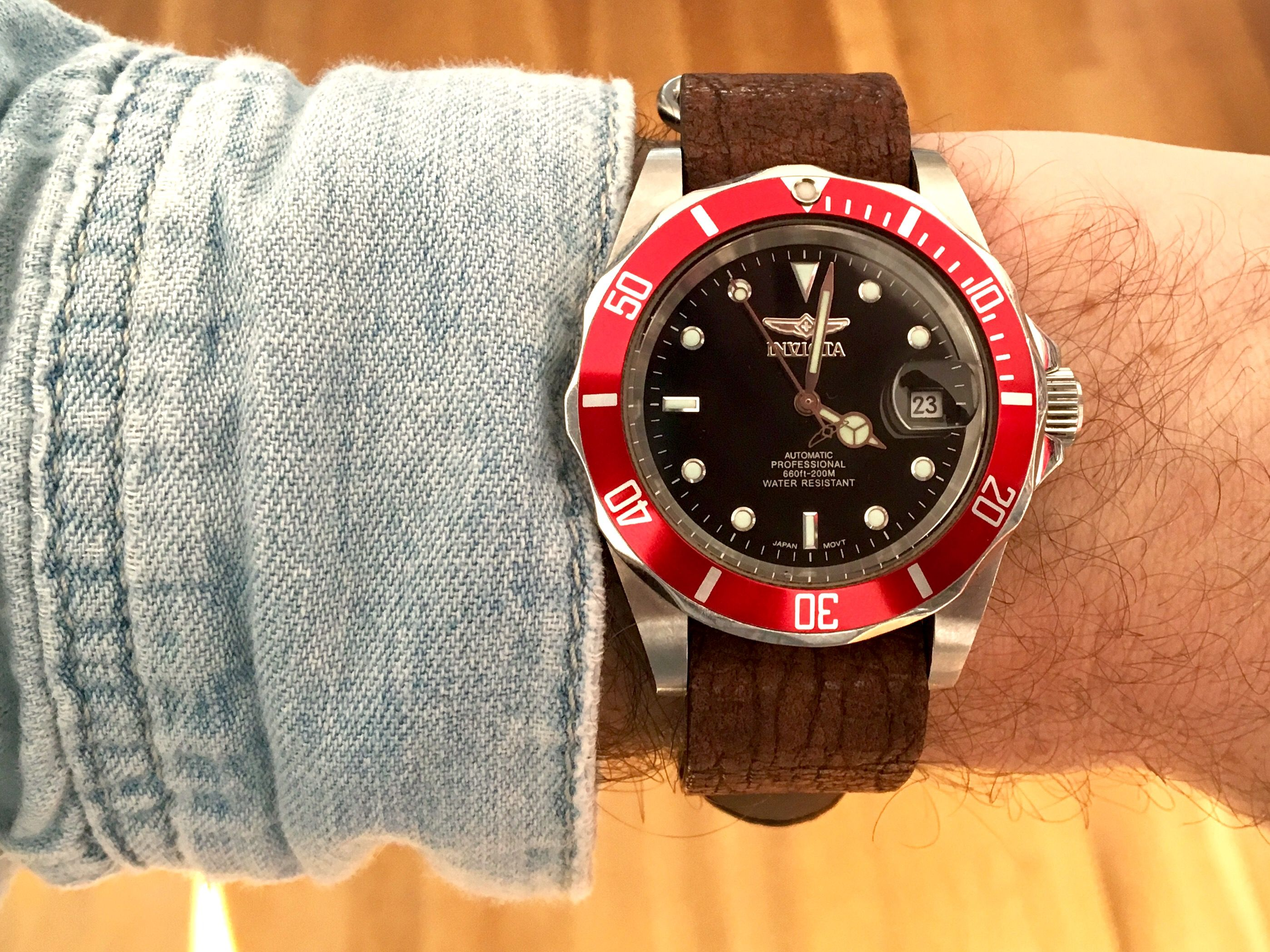 Tudor Black Bay homage watch  Invicta red bezel insert mod in honor